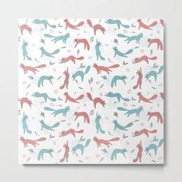 Happy Green Red Yoga Cats Sun Salutation Pattern Metal Print