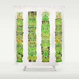 Tiki Totems – Green Shower Curtain