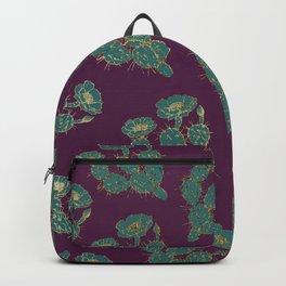Modern forest green burgundy red gold cactus floral Backpack