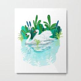 Swans in Love Metal Print
