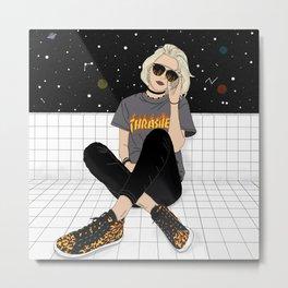 Girl in space Metal Print