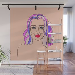 Pink is my favourite colour - single line drawn portrait with coloured pencils Wall Mural