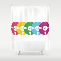 records Shower Curtains featuring Milkshake Records by Milkshake Clothing