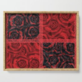 Patchwork . Roses are red. Serving Tray