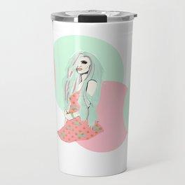 Pink and Sea Foam Travel Mug