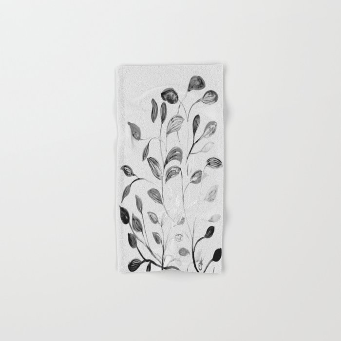 Red and Green Leaves! Romantic Silver Grey! Hand & Bath Towel