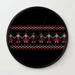 Traditional Hora people cross-stitch row black Wall Clock