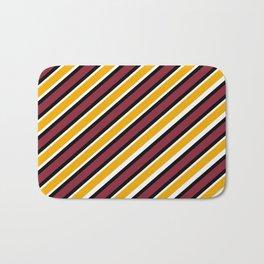 TEAM COLORS 1…Maroon Gold black and white diagonal stripe Bath Mat