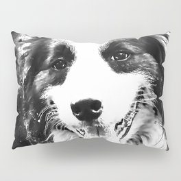 border collie shepherd dog splatter watercolor white Pillow Sham