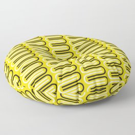 Geometric Pattern 235 (yellow curves) Floor Pillow