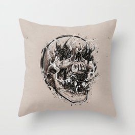 skull with demons struggling to escape Throw Pillow
