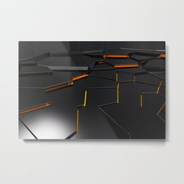 Black fractured surface with orange glowing lines Metal Print
