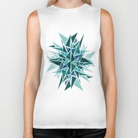 cracked Biker Tanks featuring Cracked Icicles by AJJ ▲ Angela Jane Johnston