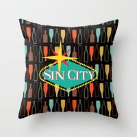 sin city Throw Pillows featuring Sin City by Chelsea Dianne Lott