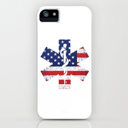 USA Flag EMT Paramedic Caduceus Doctor Nurse EMS Ambulance Gift iPhone Case