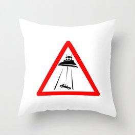 Alien Abduction Sign Throw Pillow