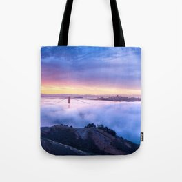 Breathtaking Hillside View Historic Golden Gate Bridge Low Hanging Clouds San Francisco California Tote Bag
