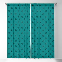 Black on Teal Green Snowflakes Blackout Curtain
