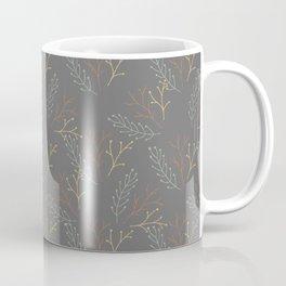 Floral Pattern in Dark Grey, Orange and Yellow Coffee Mug