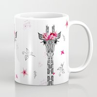girl Mugs featuring FLOWER GIRL by Monika Strigel