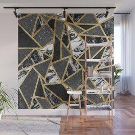 Modern Faux Gold Glitter Marble Geometric Triangle Wall Mural