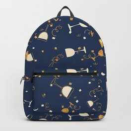 Chic navy blue faux gold glitter party time Backpack