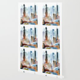 Chicago city skyline painting Wallpaper