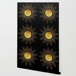 Golden Sunburst Starburst Noir Wallpaper