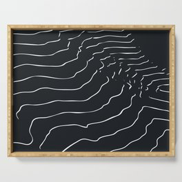 Black and white Mountain contour lines Serving Tray