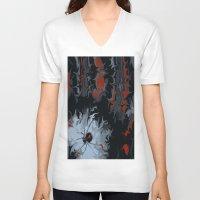 black widow V-neck T-shirts featuring widow by Shea33