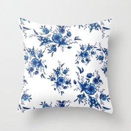 FOLK FLOWERS Throw Pillow
