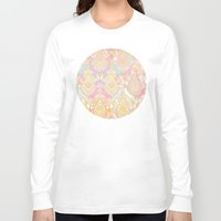 deco Long Sleeve T-shirts featuring Rosy Opalescent Art Deco Pattern by micklyn