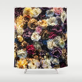 Flower Wall // Full Color Floral Accent Background Jaw Dropping Decoration Shower Curtain