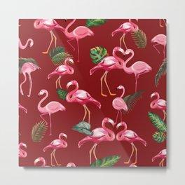 Flamingos Love Pattern 4 Metal Print