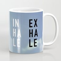 2pac Mugs featuring Inhale Exhale by Text Guy