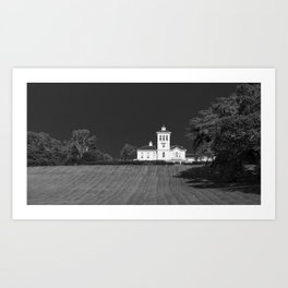 Black and white image of a homestead in Auckland New Zealand Art Print