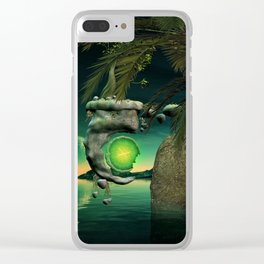The flying rock with clock Clear iPhone Case