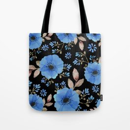 Blue flowers with black Tote Bag
