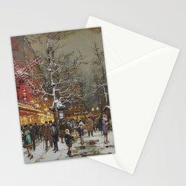 Le Moulin Caberet Sous la Neige, Paris, France by Eugene Galien Laloue Stationery Cards