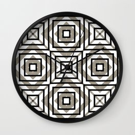 Gray, Gold, and White Geometric Abstract Wall Clock