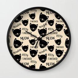 Funny black ivory kitty cat modern typography Wall Clock