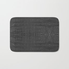 Alligator Black Leather Bath Mat