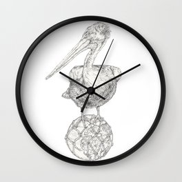 Holding on - The Dalmatian Pelican Wall Clock