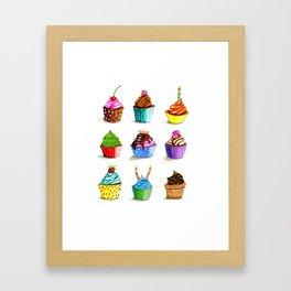 Illustration of tasty cupcakes Framed Art Print