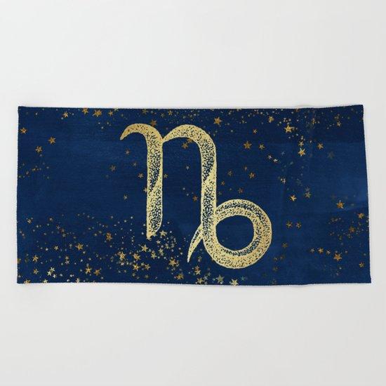Capricorn Zodiac Sign Beach Towel