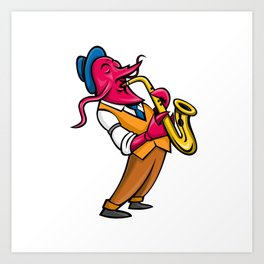Crawfish Saxophone Player Mascot Art Print
