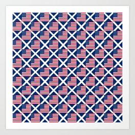Mix of flag: usa and scotland Art Print