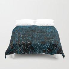 Night light city / Lineart city in blue Duvet Cover