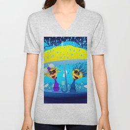 Cartoony pirates with yellow umbrella under moonlight Unisex V-Neck