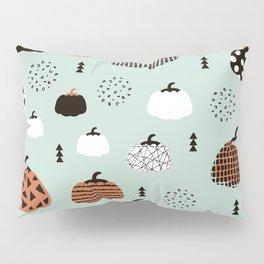 Inky Texture Pumpkins halloween illustration pattern design mint orange Pillow Sham